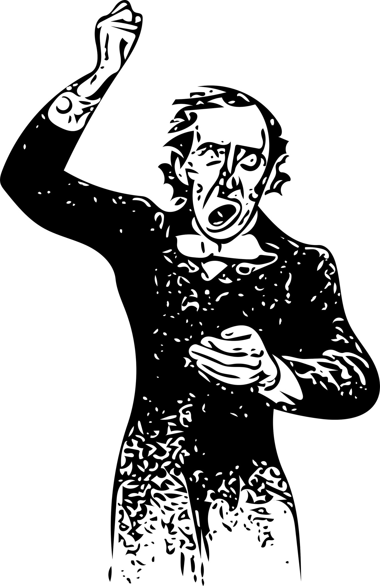 Vectorized British Library book illustration of an orator orating.